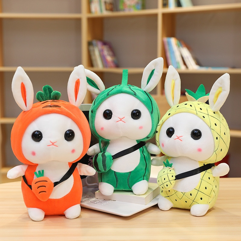 25cm 35cm conejo de peluche Cosplay zanahoria piña y fresa tela conejo muñeca juguetes para niña cumpleaños