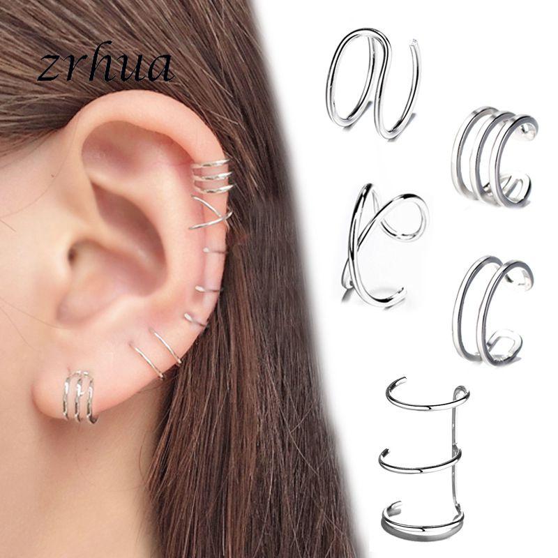 Mode Keine Durchbohrten Ohr Clip Kreuz C Form Clip Auf Ohrringe Ohr Manschette Frauen Ohrringe 925 Sterling Silber Schmuck Ohr wrap Earcuff