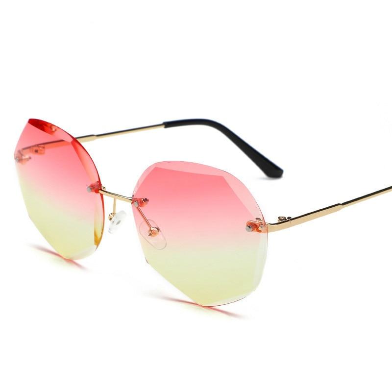 Fashion Rimless Sunglasses Women Brand Designer Sun Glasses Gradient Shades Cutting Lens Ladies Fram