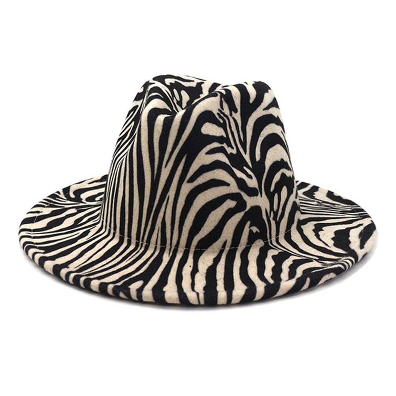 fedora hat women men zebra pattern print casual vintage winter hats designed outdoor luxury fascinat