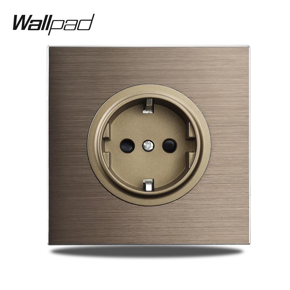 Wallpad-مقبس حائط L6 EU ، لوح ألومنيوم مصقول Schuko بني 86x86 مللي متر ، مقبس حائط أوروبي