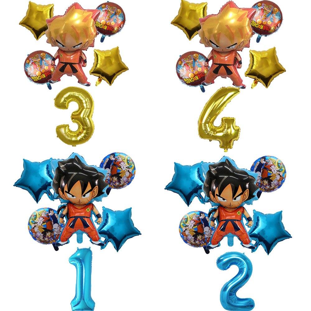 6pcs/set Son Goku Cartoon Saiyan Goku Foil Balloons Birthday Party Decorations Globos Helium Balloons Kids Party