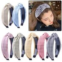 2021 fashion knotted plaid headbands for women girls wide lattice turban headband fashion cross knot hair bands hair accessories