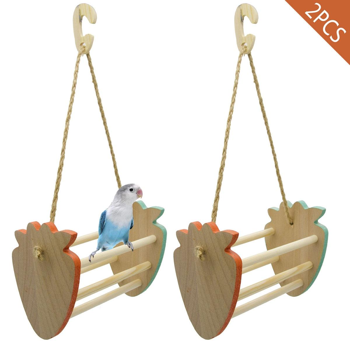 Juego de 2 unidades de columpios de fresa, Columpio de madera para escritorio, canasta colgante de juguete para pájaros, hámster, loros, juguetes y accesorios para pájaros