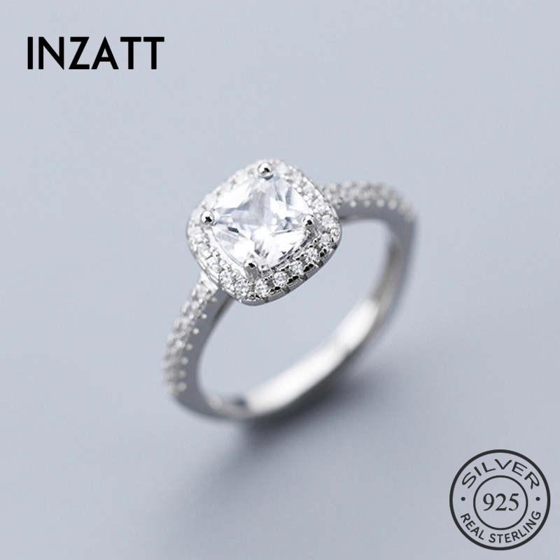 INZATT Plata de Ley 925 auténtica anillo de boda de circón para las mujeres de moda fiesta accesorios de joyería delicada regalo romántico