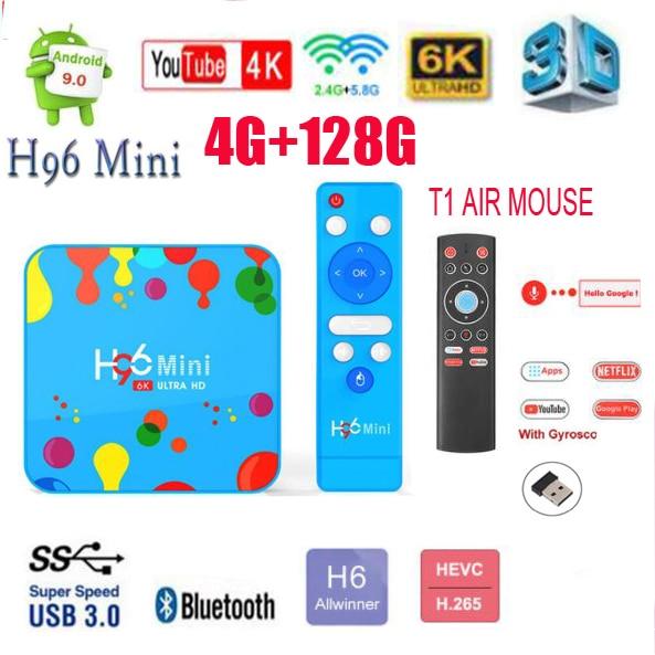 H96 Mini H6 Android tv box 9,0 h96 mini h8 6k 2,4G/5G Dual Wifi HDMI 2,0 España de opcional i8 teclado 4GB 32G/128GB