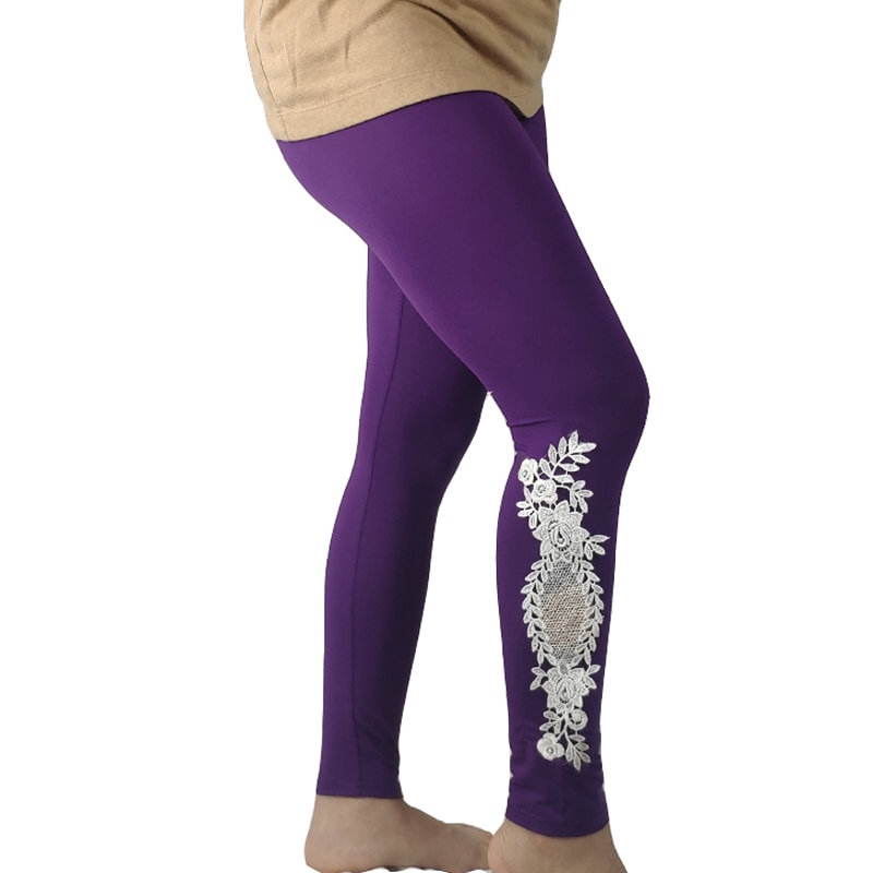 Shikoroleva leggings XS-7XL 6xl 5xl plus size feminino modal algodão rendas oco estiramento elástico legin calças preto rosa roxo branco