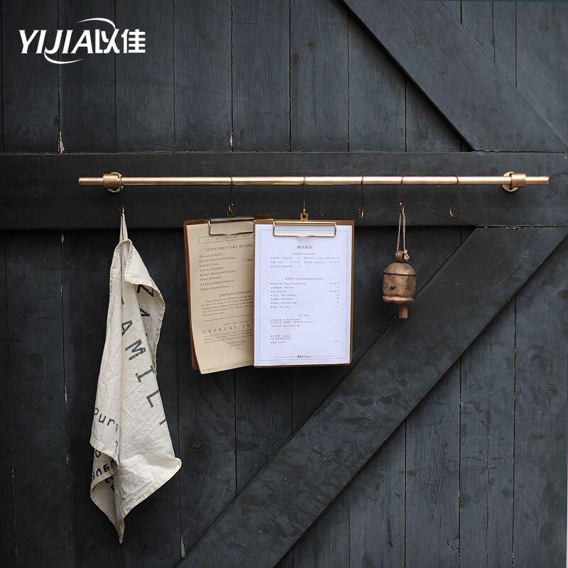 Percha de latón colgante de Hardware para decoración de varillas de cocina, gancho para estantería de cocina