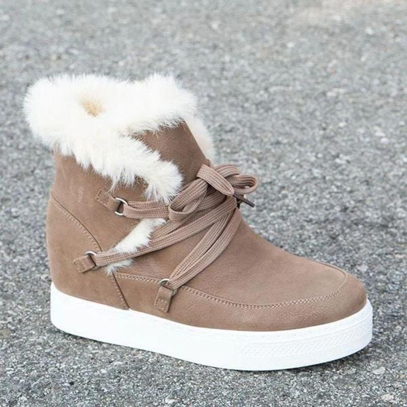 Новые зимние товары, женские удобные замшевые повседневные модные зимние сапоги на шнуровке, на танкетке, теплые классические женские сапо...