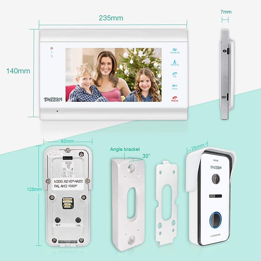 TMEZON video door intercom doorbell intercom system, 1080P 7 inch 1 monitor 1 camera touch button, night vision enlarge