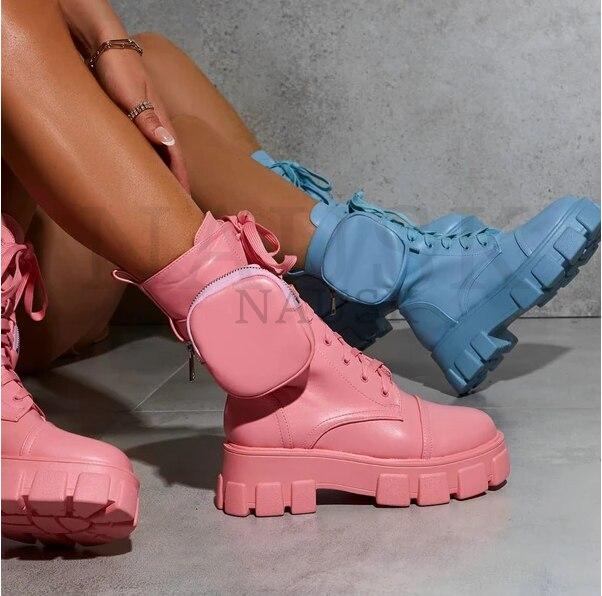 ¡Novedad de 2020! Botas de Invierno para Mujer, botines de plataforma de aumento a la moda, botines gruesos de suela rosa, Botas gruesas para Mujer, talla 35-43