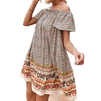 floral dress for women 2021 summer new fashion one shoulder short sleeves bohemian holiday mini dresses female jd1436
