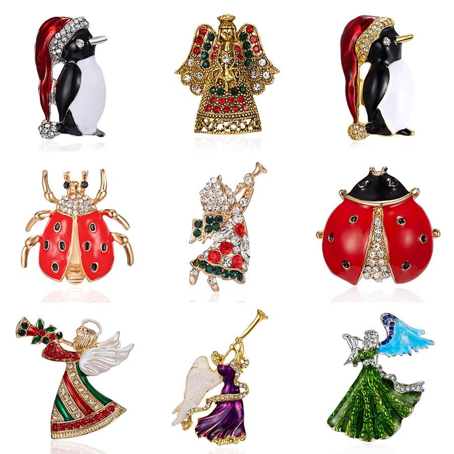 Rinhoo śliczne pingwin broszki świąteczne prezenty Rhinestone Xmas kapelusz Handmade owad biedronka moda szpilki mały anioł broszka biżuteria