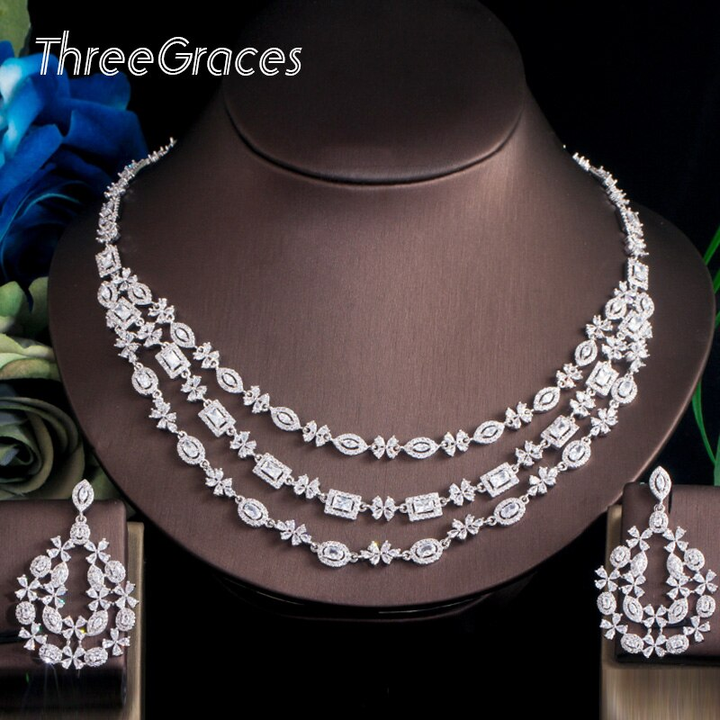 Threegrches بريليانت زركون كريستال 3 طبقات كبيرة قلادة أقراط الزفاف الزفاف طقم مجوهرات الزفاف للنساء TZ542