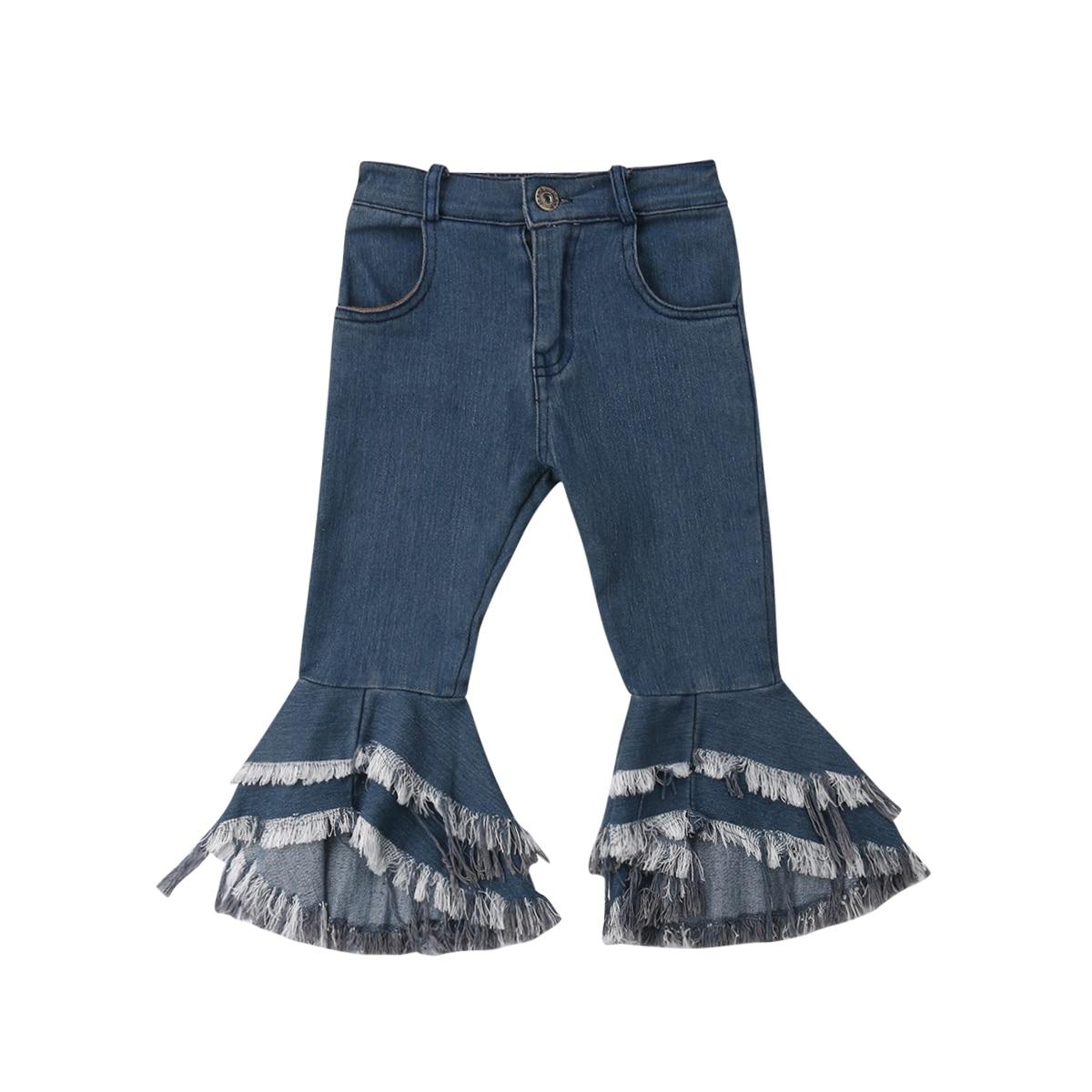 Niños flecos de niña bebé Jeans niño niñas Denim Flare pantalones Kawaii Jeans para niñas niños 2-7 años
