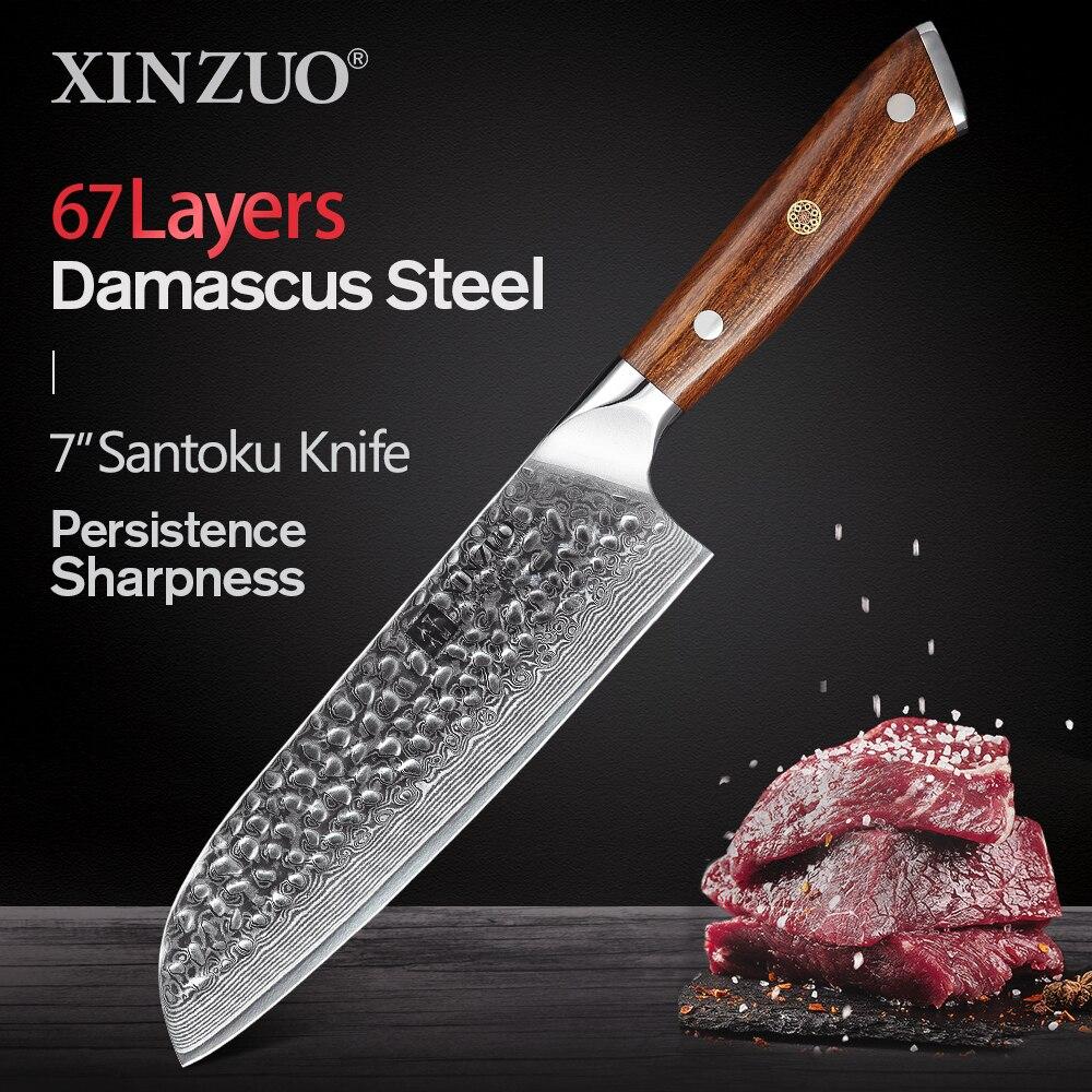 XINZUO 7 ''اليابانية الشيف السكاكين دمشق الصلب سكّين من نوع Santoku أمريكا الشمالية الصحراء الحديد مقبض اليابان VG10 السكاكين أدوات