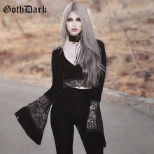Goth Dark Sexy Vintage estético Grunge gótico camiseta para las mujeres Harajuku Flare manga otoño 2020 Halloween camiseta recortada de malla