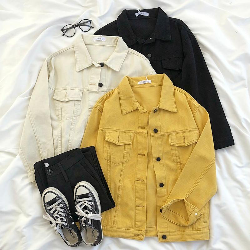 Vintage Yellow Denim Jacket Pocket Slim Black Beige Spring Jean Jacket Coat