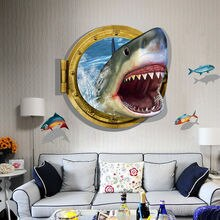 3D Shark Porthole Mural Decal Sea Cruise Wall Art Sticker Home Nursery Decor DIY Removable Ocean Vinyl Decal Sticker