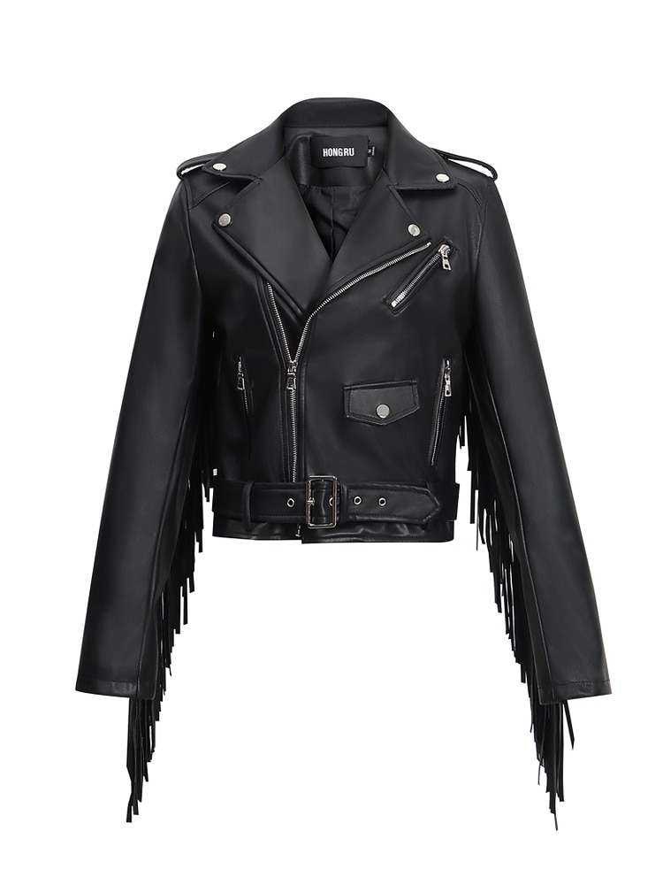 Hong Ru 2020 Autumn New Leather Fringed Jacket Women's Tassel Leather Coat Short Slim Fit Waist Motorcycle Jacket Fashion