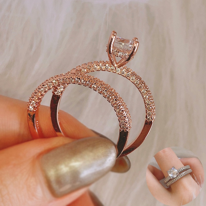 Luxury Female Bridal Wedding Ring Set Fashion Gold Color Jewelry Promise CZ Stone Engagement Rings for Women Gift