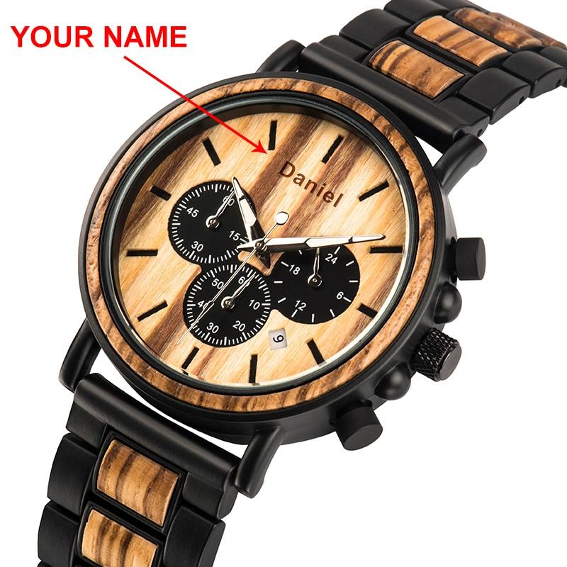 Relógio masculino bobo pássaro madeira cutomize nome aço inoxidável masculino cronógrafo relógios de pulso luminoso cronômetro presente do dia dos namorados