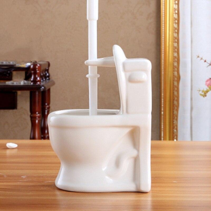 Base de cerámica en forma de inodoro + Set de brochas de inodoro TPR, soporte de cepillo de limpieza Multicolor, accesorios de baño, Base de drenaje con mango largo