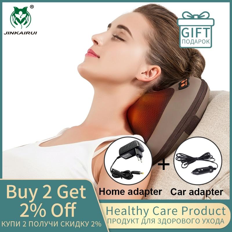 JinKaiRui chauffage infrarouge électrique pétrissage Shiatsu vibrateur cou épaule dos corps masseur oreiller voiture/chaise/maison Massagem