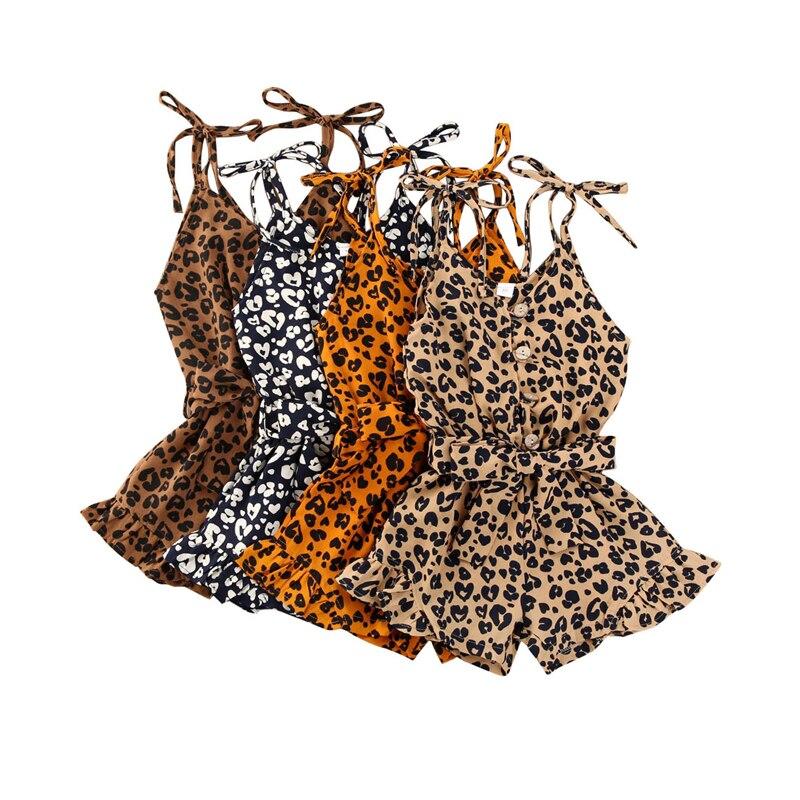 2020 maluch niemowlę dziecko śpioszki dziewczęce Leopard lato bez rękawów V-neck kombinezon przyciski zasznurować urocze ubranka stroje 1-6T