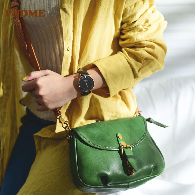 PNDME fashion casual handmade Genuine leather messenger small bag design natural real cowhide party ladies green shoulder bag