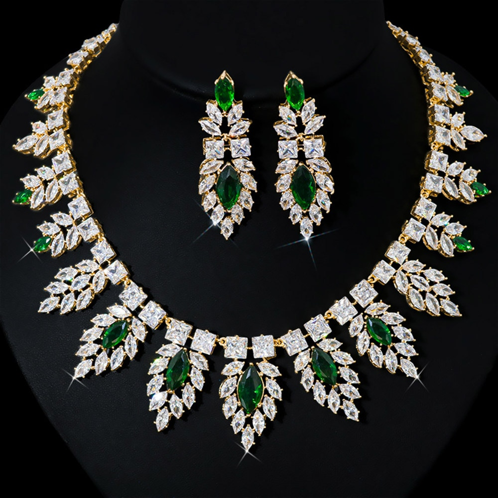 HIBRIDE Gorgeous Water Drop Necklace Earring Set AAA Cubic Zircon Wedding Jewelry Sets For Lover Brides Popular Jewelry N-761