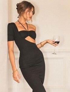 2021 Winter Women Sexy Short Sleeve One Shoulder Hollow Out Black Midi Bandage Dress Elegant Celebrity Evening Club Party Dress