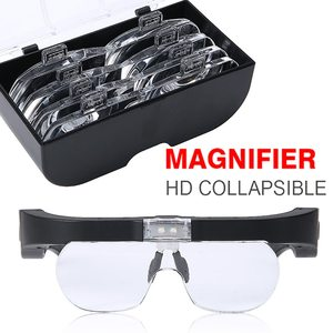 1.5X 2.5X 3.5X 5X Head-mounted Magnifie USB Rechargeable Glasses-Type Magnifier With LED Light Reading Repair Magnifier Tool