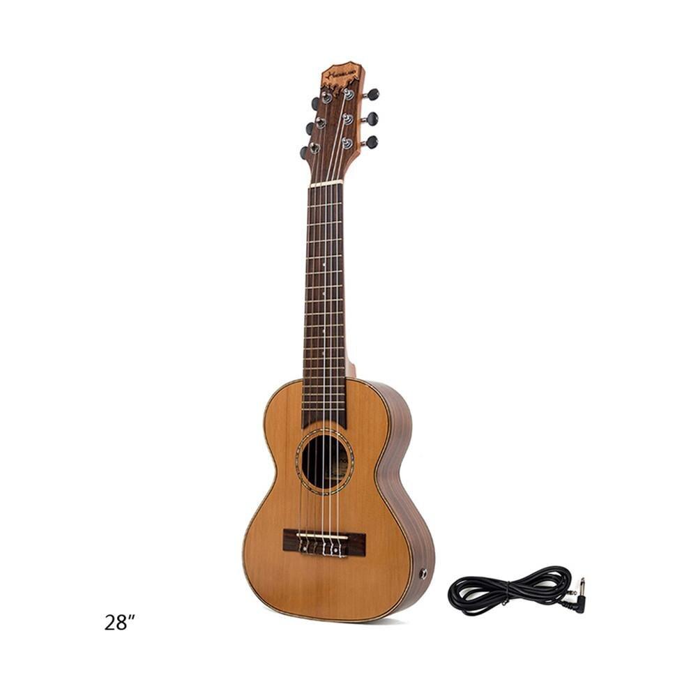 28 inch Red Pine Guilele Wood Ukulele Hawaiian Guitalele Small Guitar Guitarlele Close Type Tuning Pegs Sting Instrument