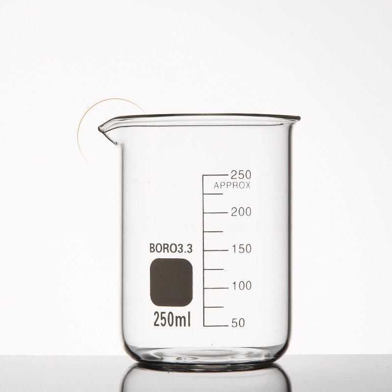 Стеклянный стакан, стакан низкого типа, лабораторный стакан, утолщенный, устойчивый к высоким температурам мерный стакан 100-800 мл