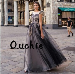 Illusion Black Evening Dresses Cap Sleeves Feathers Special Occasion Party Dress robe soiree Prom Gown Custom
