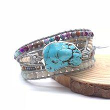 1 unidad de cuentas turquesas de piedras naturales hechas a mano, 5 pulseras de tiras, cuentas de hematita de cristal Boho, pulsera de cuero para mujer