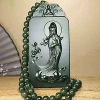 natural hetian jade qingyu station guanyin pendant hand carved na fu necklace can be worn by both men and women