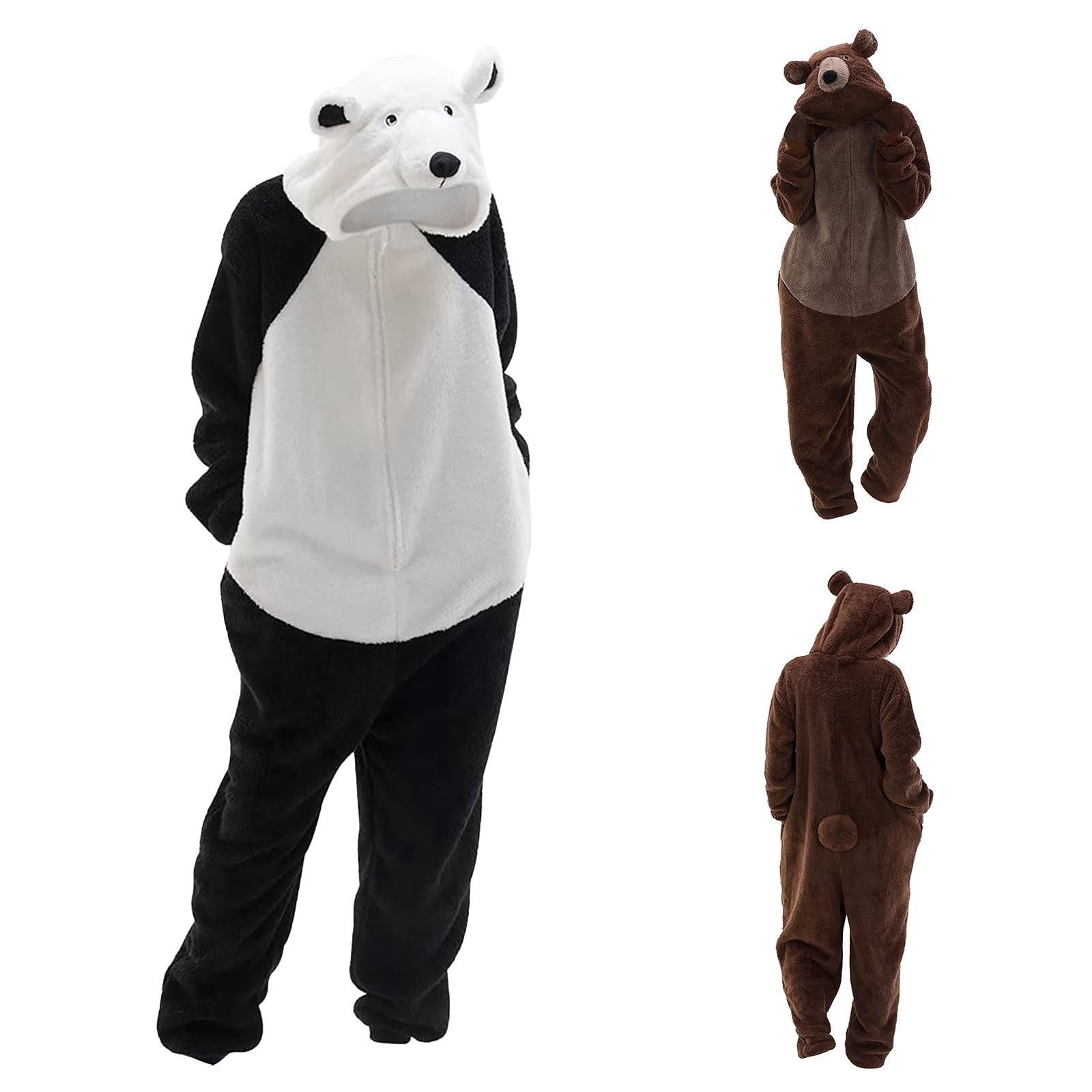 Onesies النساء بيجامات من القطيفة لطيف الباندا الدب مقنعين غامض بذلة الشتاء ملابس خاصة Homewear السروال القصير حجم كبير بيجامة صب فام