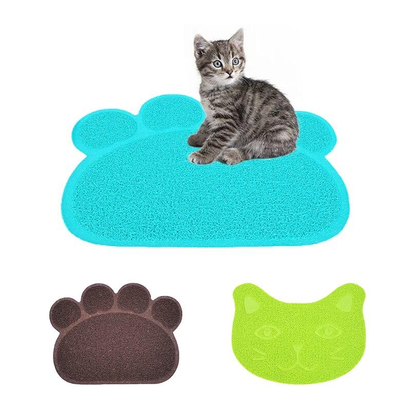 Водонепроницаемый коврик для кошачьего туалета, ПВХ, легкая чистка, милый коврик для кормления в форме когтя для домашних животных, товары д...