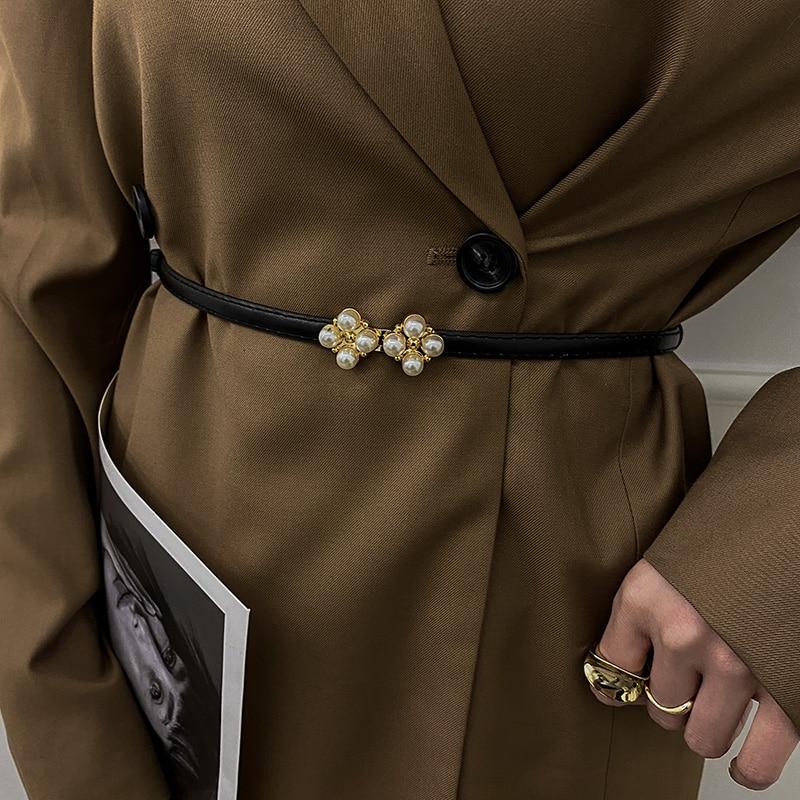 INS Style Pearl Belt Women's Jeans Belt Decoration Suit Trench Coat Summer Pant Belt Trendy Dress Th