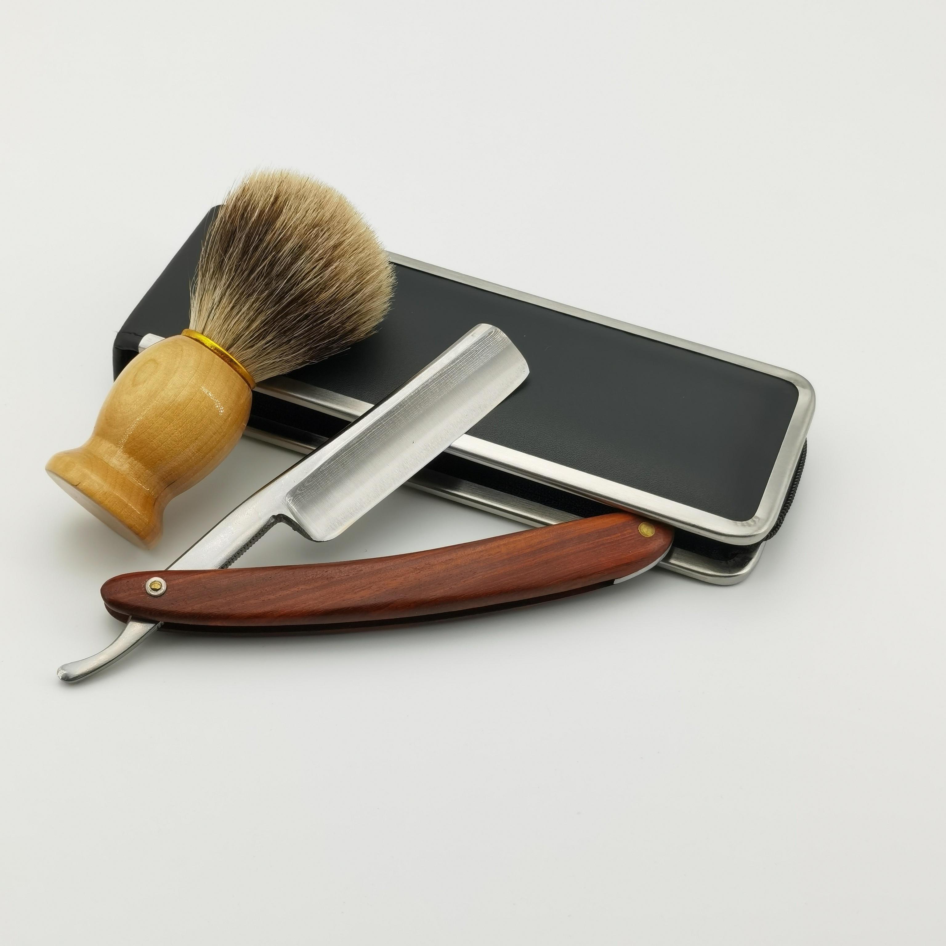 lamina de barbear alca de barbear navalha feita a mao punho de madeira faca de barbear