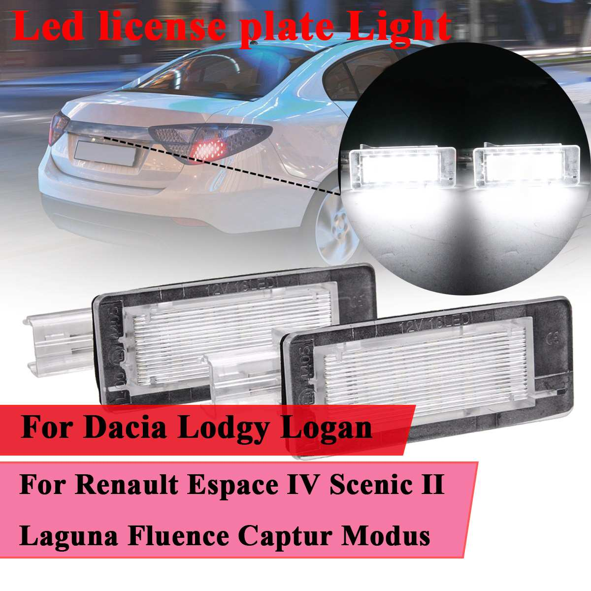 #8200013577 Led para matrícula de coche luz para Renault Espace IV escénica II III Laguna II Fluence Captur Modus para Dacia Lodgy Logan