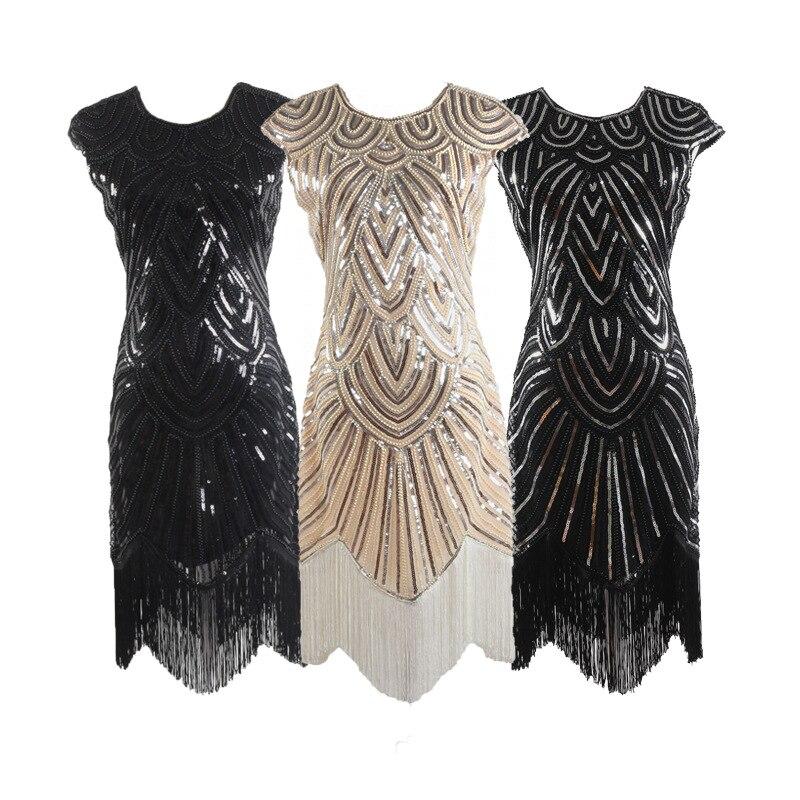 Qualidade lantejoulas vestido venda quente borlas artesanal beading bordado fino ajuste vestido 1920 retro filme formal vestido