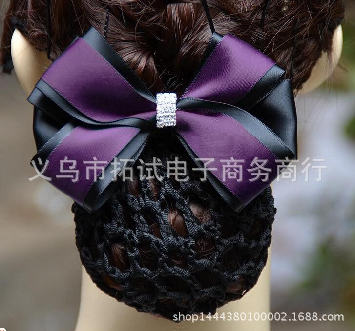Ladies headdress hair clip white collar stewardess nurse net bag bow hair flower head flower ribbon gift fabric handmade FS022