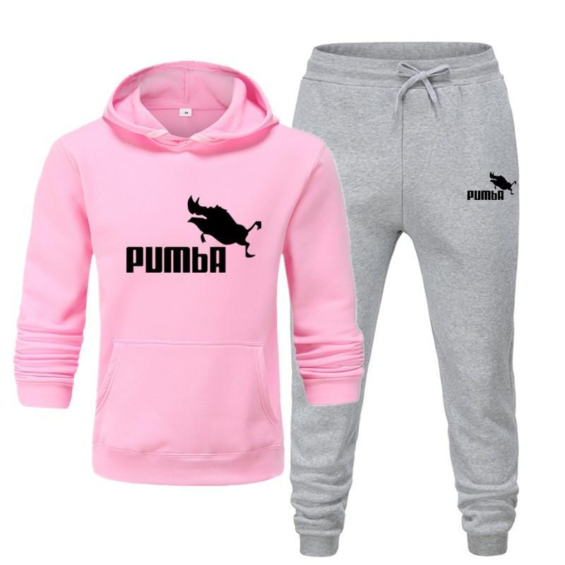 Two Pieces Hoodie Men Casual 2021 New Pumba Cotton Fall /  Warm Sweatshirts Men's Casual Tracksuit C