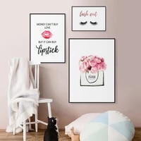 modern fashion poster makeup wall canvas print painting pink perfume flowers lips eyelashes fashion wall art pictures for living