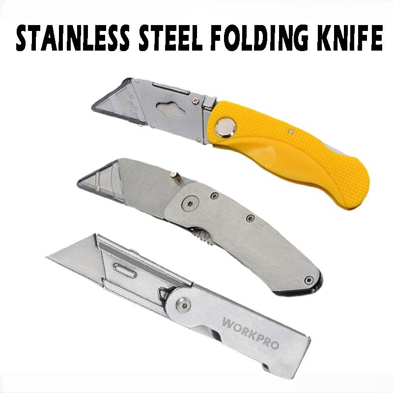 Складные универсальные ножи, портативный острый нож из нержавеющей стали для пеших прогулок и работы, резка картонных коробок, быстрая загр...