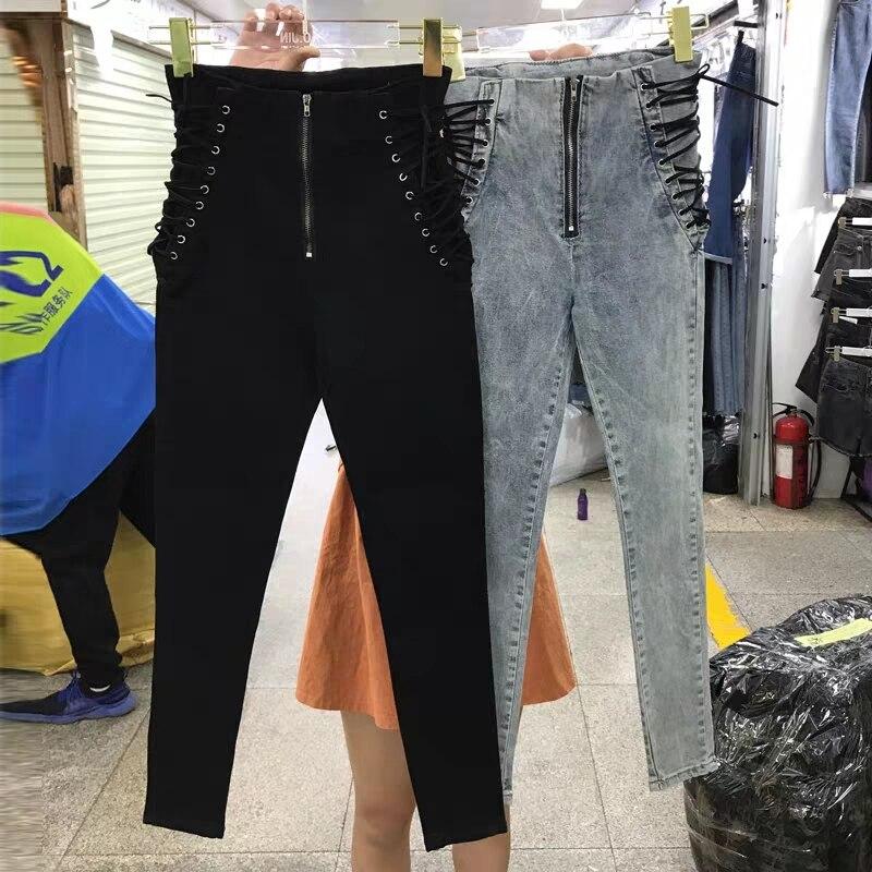 2019 nuevo, de mujeres, de moda Jeans nuevos tobillo longitud pantalones Europa gran oferta de encaje Bowknot pantalones de tubo ajustados elegante Panter Mujer