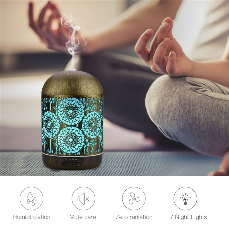 300ML Aroma Diffuser Hollow Metal 7 Colors Humidifier Aroma Oil Diffuser Bedroom Yoga Office Spa Aro